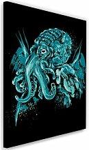 Leinwandbild Cthulhu Pop-Art in Blau