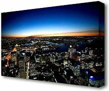 Leinwandbild Die Nachtlichter von Sydney in Schwarz