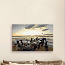 Leinwandbild DIY Strand (Sonnenaufgang)