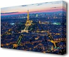 Leinwandbild Eiffelturm Nachtlichter Paris