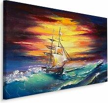 Leinwandbild Ein Schiff im Sonnenuntergang