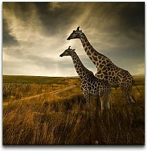 Leinwandbild Giraffen im Sonnenuntergang East