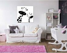 Leinwandbild Giraffen in Schwarz/Weiß