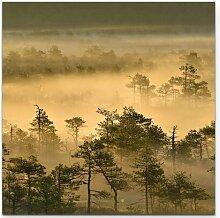 Leinwandbild Goldener Waldmorgen East Urban Home