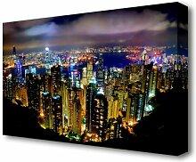 Leinwandbild Hong Kong Nachtlichter