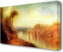 Leinwandbild Landschaft mit Frau mit Tamburin von