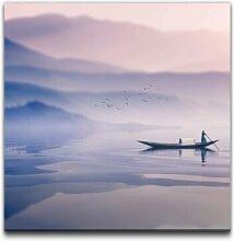 Leinwandbild Landschaft mit Ruderboot