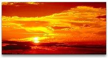 Leinwandbild Landschaft mit Sonnenuntergang