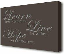 Leinwandbild Learn Live Hope in Schokoladenbraun