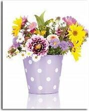 Leinwandbild Lila Blumen in einer Vase