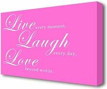 Leinwandbild Live Laugh Love 2 in Helllila East