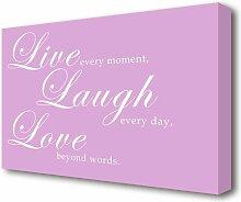 Leinwandbild Live Laugh Love 2 in Rosa East Urban