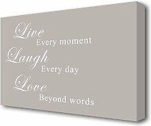 Leinwandbild Live Laugh Love in Beige East Urban