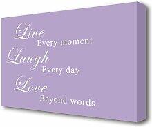 Leinwandbild Live Laugh Love in Violett East Urban