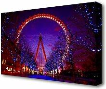 Leinwandbild London Eye Nachtlichter