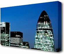 Leinwandbild London Gherkin Nachtlichter