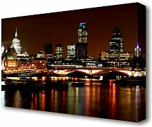 Leinwandbild London Themse Nachtlichter