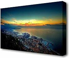Leinwandbild Luftbildaufnahme von Monaco East