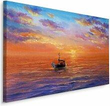 Leinwandbild Meer, Boot und Sonnenuntergang