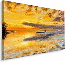 Leinwandbild Meer, Boote und Sonnenuntergang