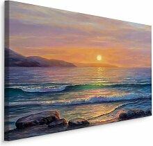 Leinwandbild Meer, Felsen und Sonnenuntergang