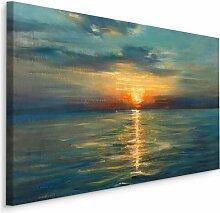 Leinwandbild Meer, Sonnenuntergang und Himmel