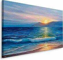 Leinwandbild Meer, Sonnenuntergang und Strand