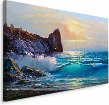 Leinwandbild Meer, Wellen und Sonnenuntergang