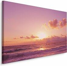 Leinwandbild Meereswellen im Sonnenuntergang