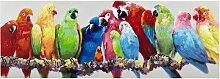 Leinwandbild mit bunten Papageien, 70x200