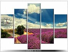Leinwandbild mit Wanduhr - Lavendel Landschaft - Moderne Dekoration - Holzrahmen