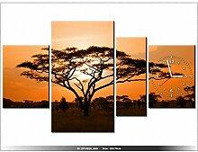 Leinwandbild mit Wanduhr - Moderne Dekoration - Holzrahmen - Afrikanische Landschaft - 120x70cm