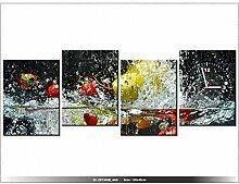 Leinwandbild mit Wanduhr - Moderne Dekoration - Holzrahmen - Ansteckung - 120x45cm