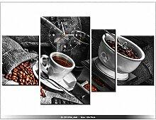 Leinwandbild mit Wanduhr - Moderne Dekoration - Holzrahmen - Arabica-Kaffee - 120x70cm