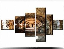 Leinwandbild mit Wanduhr - Moderne Dekoration - Holzrahmen - Architektur