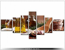 Leinwandbild mit Wanduhr - Moderne Dekoration - Holzrahmen - Aromatisches Olivenöl