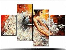 Leinwandbild mit Wanduhr - Moderne Dekoration - Holzrahmen - Ballerina - 120x80cm