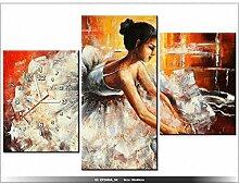 Leinwandbild mit Wanduhr - Moderne Dekoration - Holzrahmen - Ballerina - 90x60cm