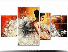 Leinwandbild mit Wanduhr - Moderne Dekoration - Holzrahmen - Ballerina - 120x70cm