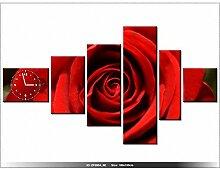 Leinwandbild mit Wanduhr - Moderne Dekoration - Holzrahmen - Blume rote Rose