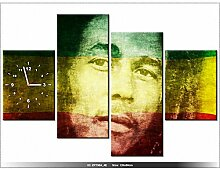Leinwandbild mit Wanduhr - Moderne Dekoration - Holzrahmen - BOB Marley