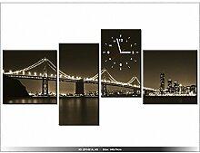 Leinwandbild mit Wanduhr - Moderne Dekoration - Holzrahmen - Brücke bei Nacht - Tanel Teemusk - 140x70cm