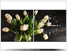Leinwandbild mit Wanduhr - Moderne Dekoration - Holzrahmen - Cremefarbene Tulpen - 80x40cm