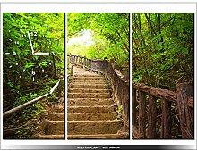 Leinwandbild mit Wanduhr - Moderne Dekoration - Holzrahmen - Die Treppe nach oben - 90x60cm