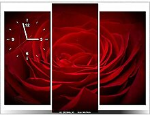 Leinwandbild mit Wanduhr - Moderne Dekoration - Holzrahmen - Eine Rose für die Geliebte