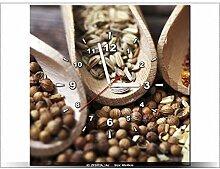 Leinwandbild mit Wanduhr - Moderne Dekoration - Holzrahmen - Eine Prise Geschmack - 40x40cm