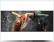Leinwandbild mit Wanduhr - Moderne Dekoration - Holzrahmen - Fitness