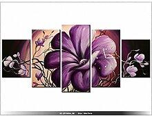 Leinwandbild mit Wanduhr - Moderne Dekoration - Holzrahmen - Florale Ausladung