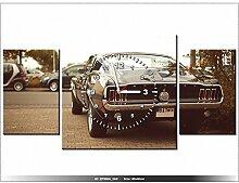 Leinwandbild mit Wanduhr - Moderne Dekoration - Holzrahmen - Ford Mustang - 55laney69 - 80x40cm