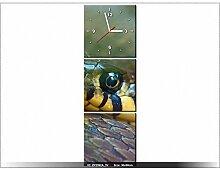 Leinwandbild mit Wanduhr - Moderne Dekoration - Holzrahmen - Gewöhnliche Ringelnatter - 30x90cm